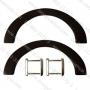 หูไม้ ติดกระเป๋า สีโอ๊ค โค้ง 1.2x23.5x10 cm.ห่วงสี่เหลี่ยมเงิน