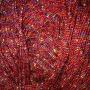 เชือกร่ม  แซมดิ้นรุ้ง สีแดง ถักกระเป๋า